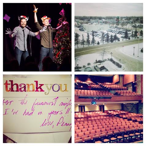 Top L, Jingle Cats Tribute with Matt Hines; Top R, View from my hotel in Winnipeg; Bottom L, Note from my neighbour after Ginger Nation in YYZ; Bottom R, Kingston Grand Theatre.